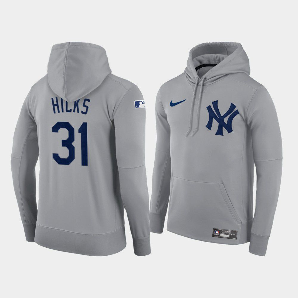 Cheap Men New York Yankees 31 Hicks gray hoodie 2021 MLB Nike Jerseys